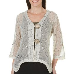 Lennie Womens Crochet Coconut Button Shrug