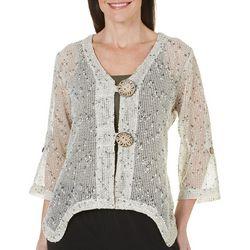 Womens Crochet Coconut Button Shrug