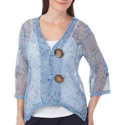 Womens Crochet Coconut Button Shrug
