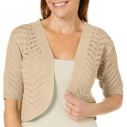 Nina Leonard Womens Open Front Crochet Shrug
