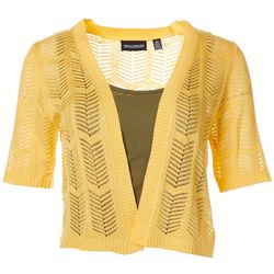 Lennie Womens Open Front Chevron Crochet Shrug