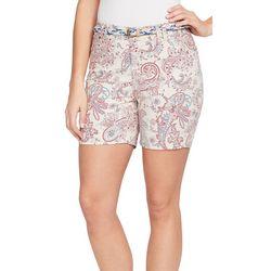 BANDOLINO Womens Amalia Belted Paisley Twill Shorts