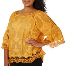 Democracy Plus Solid Embroidered Crochet Top