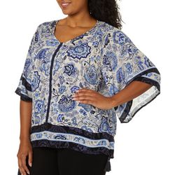 Democracy Plus Boho Floral Print Woven Top