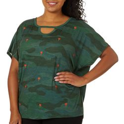 Democracy Plus Embroidered Palm Tree Camo Keyhole Top