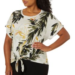 Democracy Plus Tropical Leaf Print Tie Front Top