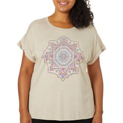 Democracy Plus Heathered Medallion Print Short Sleeve Top