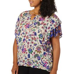 Democracy Plus Floral Keyhole Neck Detail Ruffle Sleeve Top