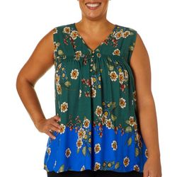 Democracy Plus Smocked Floral Sleeveless Top