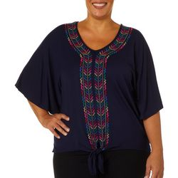 Democracy Plus Geometric Embroidered Tie Front Top