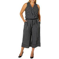 Democracy Plus Striped Faux-Wrap Capri Jumpsuit