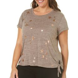 Democracy Plus Metallic Star Heathered Side Tie Top