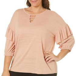 Democracy Plus Solid Ruffle Sleeve Keyhole Neck Top