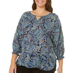 Democracy Plus Paisley Print Bar Neck Top