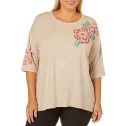 Democracy Plus Floral Print Heathered Top