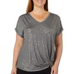 Democracy Plus Metallic Leopard Print Pinched Side Top