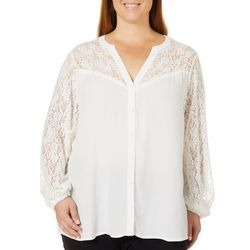 Democracy Plus Solid Lace Yoke Top