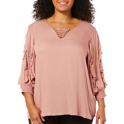 Democracy Plus Ruffle Sleeve Lace-Up Top