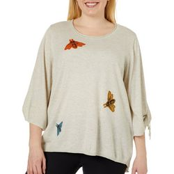 Democracy Plus Embroidered Bumblebee Tie Sleeve Sweater