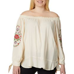 Democracy Plus Embroidered Floral Off The Shoulder Top