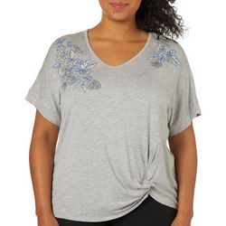 Democracy Plus Embroidered Floral Twist Front Top