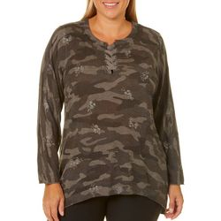 Democracy Plus Floral Camo Lace Up Sweater