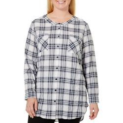 Democracy Plus Button Down Plaid Top