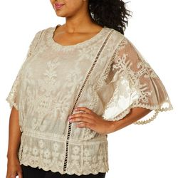 Democracy Plus Solid Crochet Butterfly Sleeve Top
