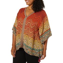 Democracy Plus Geometric Waves Poncho Top