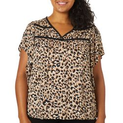 Democracy Plus Leopard Print Flutter Sleeve Top