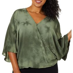 Democracy Plus Solid Sparkle Surplice Dolman Top