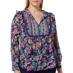 Vintage America Plus Julianna Floral Tassel Top