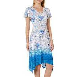OneWorld Womens Geometric Tile Flutter Sleeve Dress