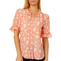 OneWorld Womens Floral Dot Ruffle Sleeve Peasant Top