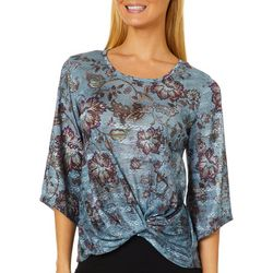 OneWorld Womens Floral Stripe Twist Front Top