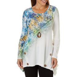 OneWorld Womens Mixed Print Top And Necklace Set