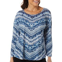 OneWorld Womens Geo Print Jewel Embellished Ombre Top