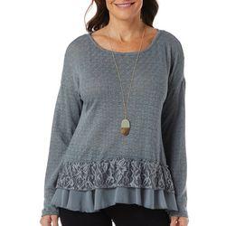 OneWorld Womens Solid Lace Ruffle Hem Long Sleeve Top