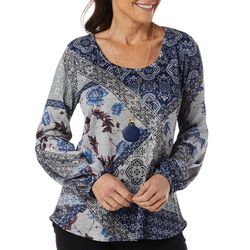 OneWorld Womens Patchwork Print Long Sleeve Top