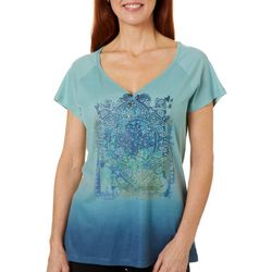 OneWorld Womens Vintage Mandala Embellished Ombre Top
