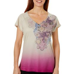 OneWorld Womens Spreading Love Paisley Embellished Ombre Top