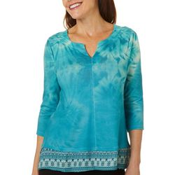 OneWorld Womens Faux Layered Split Neckline Top