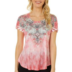 OneWorld Womens Mixed Damask Short Sleeve Top