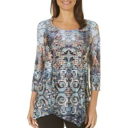 OneWorld Womens Floral Paisley Asymmetrical Top