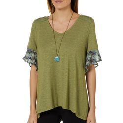 OneWorld Womens Necklace & Boho Trim Top