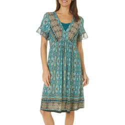 OneWorld Womens Crochet Boho Print Dress