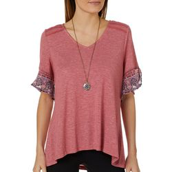 OneWorld Womens Necklace & Damask Trim Top