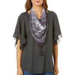 OneWorld Womens Scarf & Solid Ruffled Top