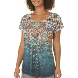 OneWorld Womens Embellished Ikat Damask Top