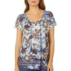OneWorld Womens Floral Border Print Tassel Top